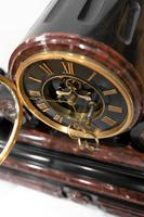Majestic 1858 French Drumhead Striking Mantel Clock in Black Slate with Rouge / White Marble (3 of 6)