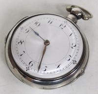 Antique Silver Pair of Case Pocket Watch Fusee Verge Escapement Key Wind Enamel Dial Thomas Cooker Oakham (5 of 12)