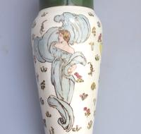Margaret E Thomson : Royal Doulton Lambeth Faience Vase Mucha Style C.1900 (5 of 10)
