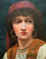 Fine Original 19th Century Antique Portrait Oil Painting of a Stunning Young Gypsy Girl (7 of 11)