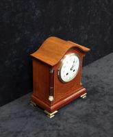 French Belle Epoque Mahogany Inlaid Mantel Clock (4 of 7)