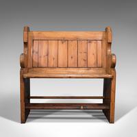 Antique Love Seat, English, Pine, Bench, Pew, Ecclesiastic Taste, Victorian (2 of 12)