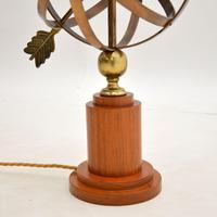 Brass & Teak Armillary Sphere Vintage Table Lamp (9 of 11)