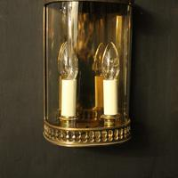 French Pair of Brass Antique Half Wall lanterns (9 of 10)