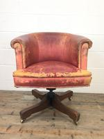 Antique Distressed Leather Swivel Armchair (2 of 8)