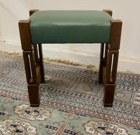 Stylish Arts and Crafts Oak and Leather Stool (2 of 6)