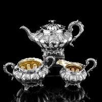 Magnificent Georgian Solid Silver Tea Set / Service 3 Piece Set - Barnard 1835 (3 of 29)