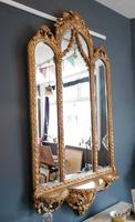 Antique Regency style triple fronted Giltwood Mirror with shelf (4 of 9)