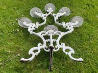 Victorian 19th Century Garden Cast Iron Painted White 6 Branch Plant Stand (25 of 47)