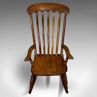 Antique Farmhouse Rocking Chair, English, Elm, Beech, Seat, Victorian c.1900 (8 of 12)