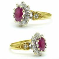 Vintage 18ct gold oval ruby & diamond cluster ring ~ Valentine proposal (2 of 10)