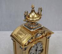French Belle Epoque Brass & Silver Gilt Mantel Clock (4 of 9)