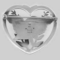 Vintage  Georg Jensen Robin in a Heart Brooch Arno Malinowski 1930s Silver 283 Brooch (2 of 6)