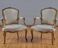 Pair Of French Louis XV Style Painted And Gilt Armchairs (3 of 8)