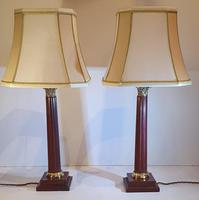 Pair of 20th Century Marble & Brass Corinthian Table Lamps (4 of 5)
