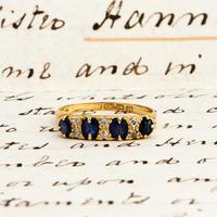 The Antique 1912 Sapphire & Diamond Scroll Head Gold Ring