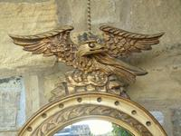 Regency Style Circular Convex Mirror Eagle Crest (3 of 6)