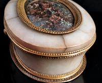 Antique French Jewellery Casket, Alabaster, Ormolu, Dried Flowers (8 of 13)