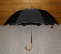 Antique 18 Carat Gold Plate Black Cotton Canopy Umbrella W/Whangee Bamboo Handle (2 of 12)