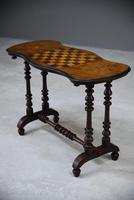 Antique Walnut Inlaid Victorian Games Table (9 of 10)