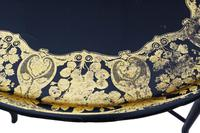 Victorian Decorated Black Lacquer Tray on Stand Coffee Table (10 of 11)