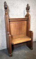 Victorian Carved Oak Gothic Church Pew (3 of 12)