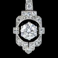 Art Deco Diamond Pendant Necklace Platinum 0.90ct Diamond 1.40ct Total c.1920 (4 of 8)