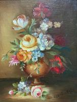 Superb Original Early 20th Century Continental Miniature Floral Still Life Oil Painting (6 of 11)