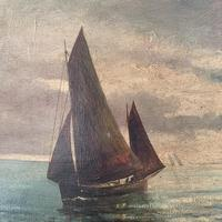 Antique marine seascape oil painting Fishing Boats with a good catch signed W Graves 1918 (5 of 11)