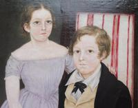 Large Oil on Canvas Portrait of Brother & Sister 1860 (3 of 13)