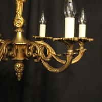 French 6 Light Gilded Bronze Early 20th Century Antique Chandelier (3 of 10)