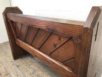 Antique Pitch Pine Church Pew with Enamel Number 35 (11 of 12)