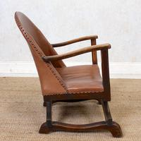 Carved Oak Leather Bucket Sofa & Chair (24 of 24)