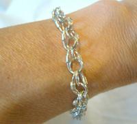 "Vintage Silver Bracelet 1970s Wire Coil Links 7 1/4"" Length (9 of 9)"