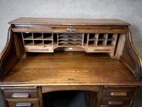 Antique Edwardian Oak Roll Top Pedestal Desk (3 of 10)