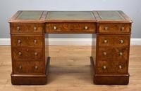 19th Century Victorian Burr Walnut Pedestal Desk (2 of 18)