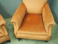 Pair of Victorian Mahogany & Peach Velvet Easy Chairs (7 of 15)