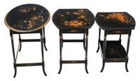 Victorian Oriental Chinoiserie Nest of Decorated Black Lacquer Tables (8 of 10)
