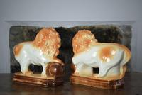 Large 19th Century Staffordshire Pottery Lions (8 of 10)