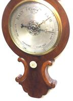 Good Mahogany Flame Mahogany Barometer Thermometer with Arched Top (5 of 9)