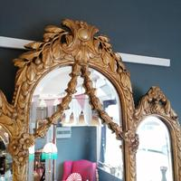 Antique Regency style triple fronted Giltwood Mirror with shelf (8 of 9)