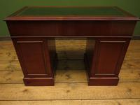 Small Antique Reproduction Pedestal Desk with Leather top, Brights of Nettlebed (5 of 10)