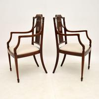 Pair of Antique Edwardian Inlaid  Mahogany Armchairs (3 of 12)