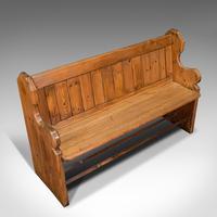 Antique Bench Seat, English, Pine, Pew, Ecclesiastic Taste, Victorian c.1900 (7 of 12)