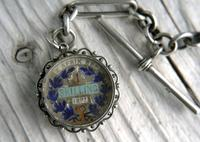 Antique Silver Albert Watch Chain and Enameled 1897 South African Shilling Fob in Silver Mount, 15 Inch (5 of 12)