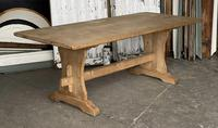 French Bleached Oak Trestle End Farmhouse Dining Table (18 of 19)