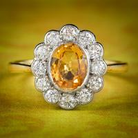Antique Edwardian Yellow Sapphire Diamond Ring 18ct Gold 1.40ct Sapphire c.1905