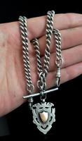 Antique Silver Double Albert Chain, Watch Fob (11 of 13)