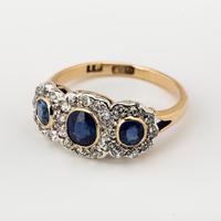 Antique Victorian Gold Sapphire & Diamond Trilogy Cluster Ring c.1880