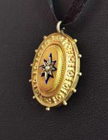 Victorian 9ct Gold Blue Enamel Pendant, Seed Pearl Star (5 of 10)